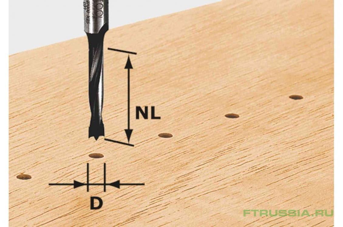 Фреза-сверло для изготовления отверстий под шканты HW с хвостовиком 8 мм FESTOOL HW S8 D10/30 Z