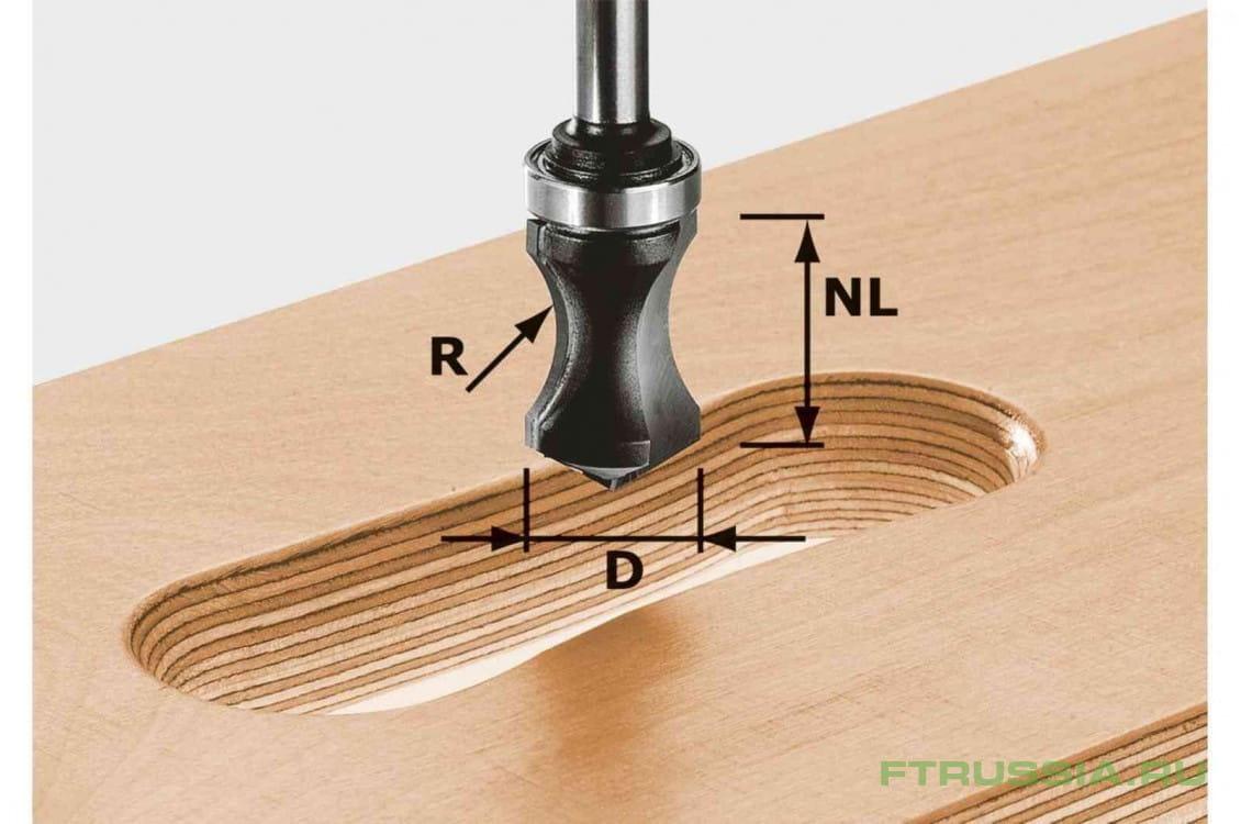 Фреза для профилирования отверстий под ручки HW с хвостовиком 8 мм FESTOOL HW S8 R16/NL32