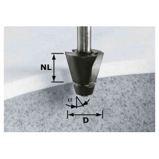 Фреза для профилирования фасок HW с хвостовиком 12 мм FESTOOL HW D33,54/15° ss S12