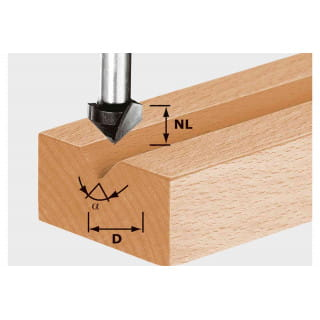 Фреза для выборки V- образного паза HW с хвостовиком 8 мм FESTOOL HW S8 D14/7/90°