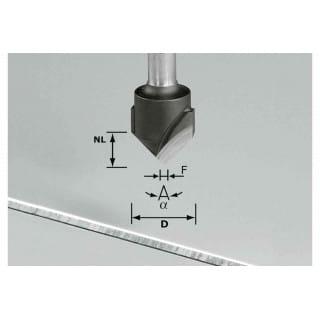 Фреза для выборки V- образного паза HW с хвостовиком 8 мм FESTOOL HW S8 D18-90° (Alu)