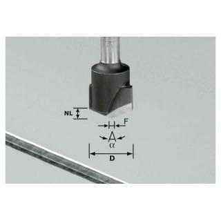 Фреза для выборки V- образного паза HW с хвостовиком 8 мм FESTOOL HW S8 D18-135° (Alu)