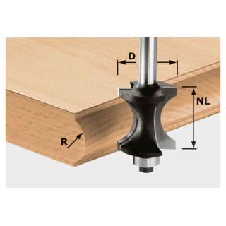 Фреза профильная для формирования полукруглого канта HW, с хвостовиком 8 мм FESTOOL HW S8 D30/28