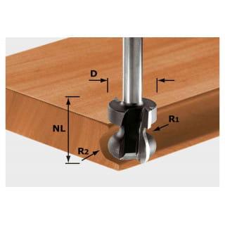 Фреза для профилирования пазов под ручки HW с хвостовиком 8 мм FESTOOL HW S8 D22/16/R2,5+6