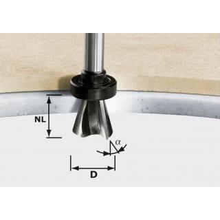 Фреза для профилирования фасок HW с хвостовиком 12 мм FESTOOL HW D28/15° ss S12