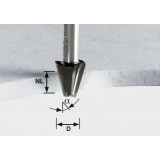 Фреза для профилирования фасок HW с хвостовиком 12 мм FESTOOL HW D23/15° ss S12