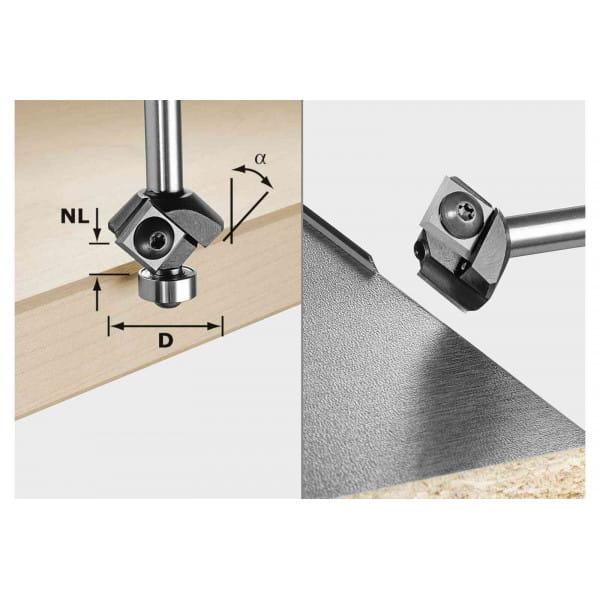 Фреза для профилирования фасок со сменными ножами HW с хвостовиком FESTOOL 8 мм S8 45° D27 12x12 KL