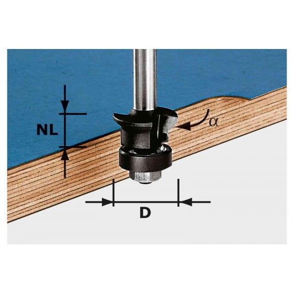 Фреза для снятия фаски / пригонки с хвостовиком 8 мм FESTOOL HW S8 D24/0° +45°