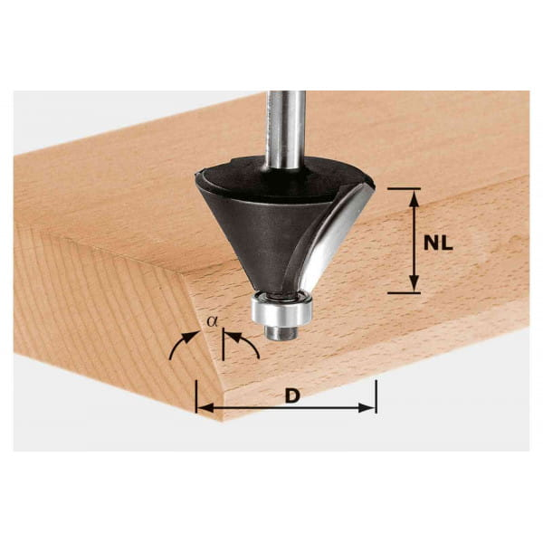 Фреза для профилирования фасок HW с хвостовиком 12 мм FESTOOL HW S12 D55/20/45°