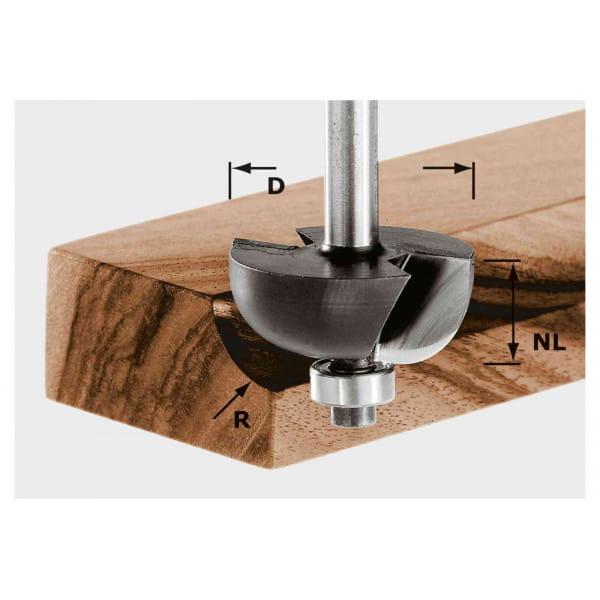 Фреза для выборки желобка HW с хвостовиком 8 мм FESTOOL HW S8 D38,1/R12,7 KL