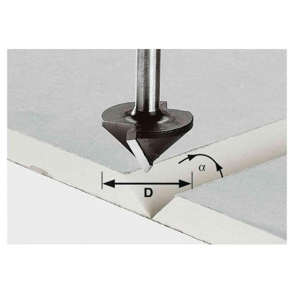 Фреза для выборки V- образного паза в листах гипсокартона HW с хвостовиком 8 мм FESTOOL HW S8 D12,5/45°