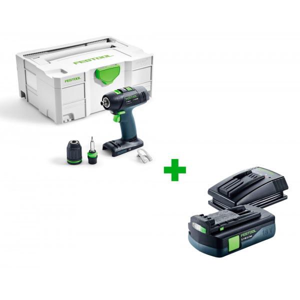 Дрель-шуруповерт аккумуляторная FESTOOL T 18+3 Li-Basic + аккумулятор BP 18 Li 3,1 C и зарядное устройство TCL 3 в подарок!