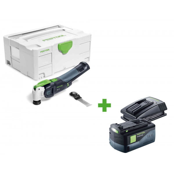 Инструмент многофункциональный FESTOOL VECTURO OSC 18 Li E-Basic + аккумулятор BP 18 Li 5,2 AS и зарядное устройство TCL 3 в подарок!