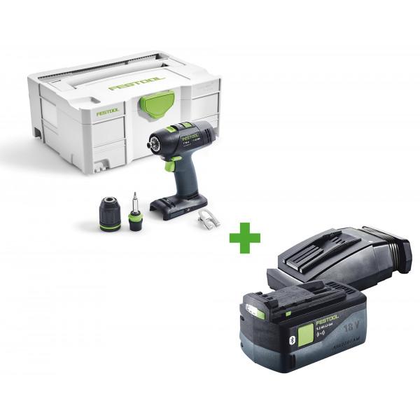 Дрель-шуруповерт аккумуляторная FESTOOL T 18+3 Li-Basic + аккумулятор BP 18 Li 5,2 ASI + зарядное устройство TCL 6 в подарок!