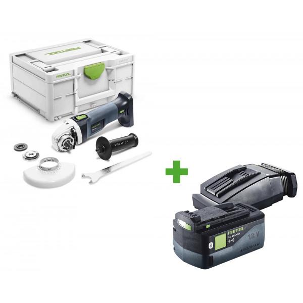 Машинка углошлифовальная аккумуляторная FESTOOL AGC 18-125 EB-Basic + аккумулятор BP 18 Li 5,2 ASI и зарядное устройство TCL 6 в подарок!