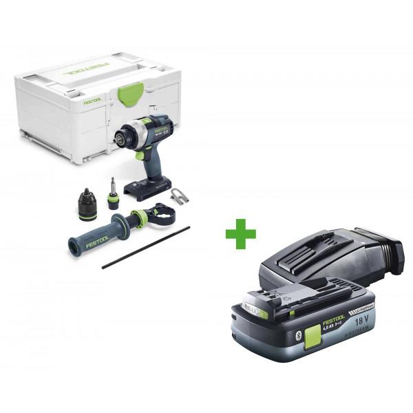 Дрель-шуруповерт аккумуляторная FESTOOL QUADRIVE TDC 18/4 I-Basic + аккумулятор BP 18 Li 4,0 HPC-ASI и зарядное устройство TCL 6 в подарок!