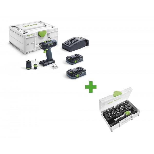 Дрель-шуруповерт аккумуляторная FESTOOL T 18+3 HPC 4,0 I-Plus + набор бит SYS3 XXS CE-MX BHS 60 в подарок!