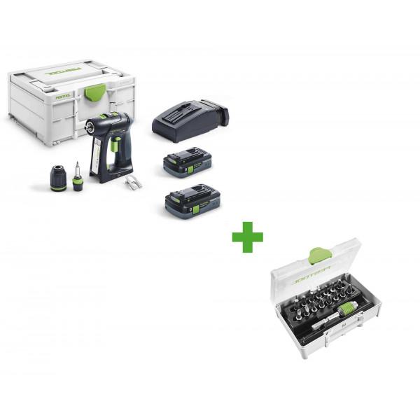 Дрель-шуруповерт аккумуляторная FESTOOL C 18 HPC 4,0 I-Plus + набор бит SYS3 XXS CE-MX BHS 60 в подарок!