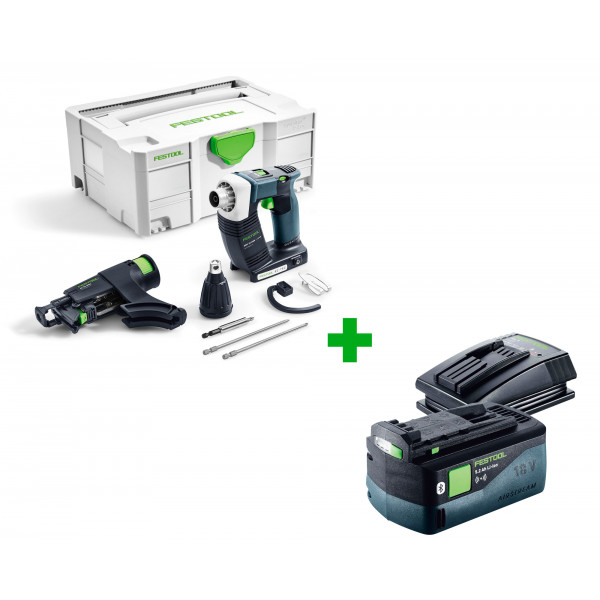 Шуруповерт аккумуляторный для гипсокартона FESTOOL DWC 18-2500 Li-Basic + аккумулятор BP 18 Li 5,2 ASI и зарядное устройство TCL 3 в подарок!