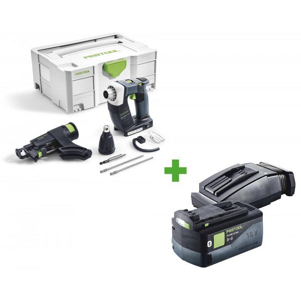 Шуруповерт аккумуляторный для гипсокартона FESTOOL DWC 18-2500 Li-Basic + аккумулятор BP 18 Li 5,2 ASI + зарядное устройство TCL 6 в подарок!