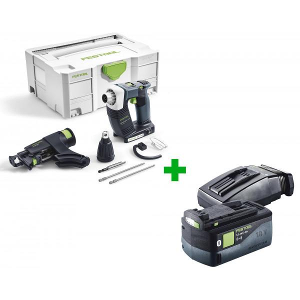 Шуруповерт аккумуляторный для гипсокартона FESTOOL DWC 18-4500 Li-Basic + аккумулятор BP 18 Li 5,2 ASI и зарядное устройство TCL 6 в подарок!