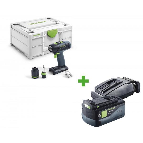 Дрель-шуруповерт аккумуляторная FESTOOL T 18+3-Basic + аккумулятор BP 18 Li 5,2 ASI + зарядное устройство TCL 6 в подарок!