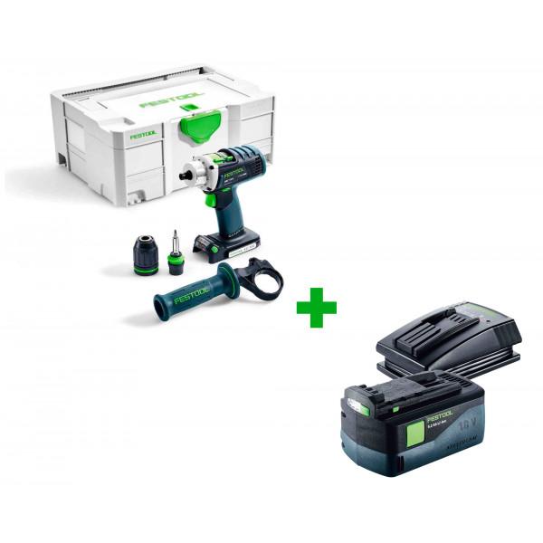 Дрель-шуруповерт аккумуляторная FESTOOL DRC 18/4 Li-Basic + аккумулятор BP 18 Li 5,2 ASI и зарядное устройство TCL 3 в подарок!
