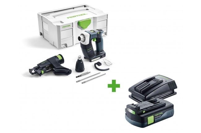 Шуруповерт аккумуляторный для гипсокартона FESTOOL DWC 18-2500 Li-Basic + аккумулятор BP 18 Li 3,1 C и зарядное устройство TCL 3 в подарок!