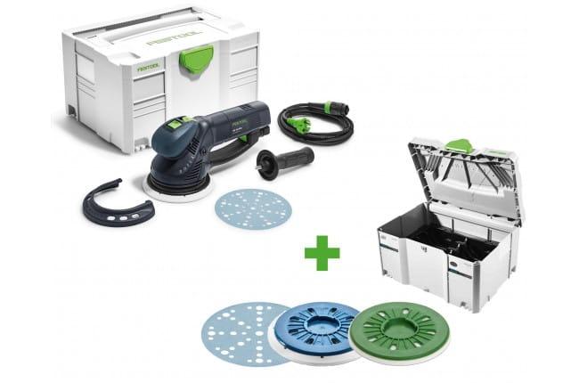 Машинка шлифовальная эксцентриковая электрическая ROTEX FESTOOL RO 150 FEQ-Plus + систейнер + две шлифовальные тарелки + шлифовальные круги в подарок!