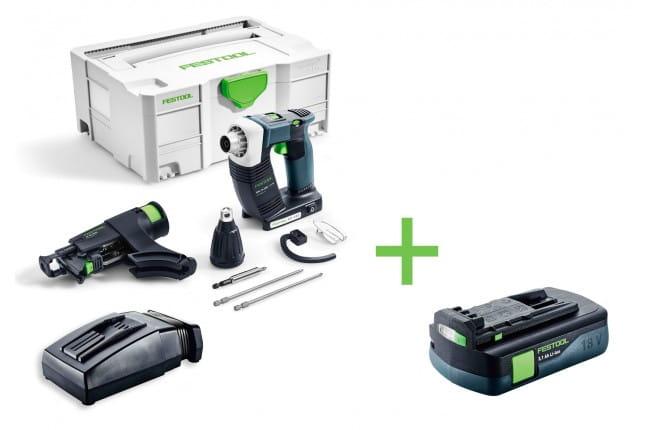 Шуруповерт аккумуляторный для гипсокартона FESTOOL DWC 18-2500 Li-Basic с зарядным устройством TCL 6 + аккумулятор BP 18 Li 3,1 C в подарок!