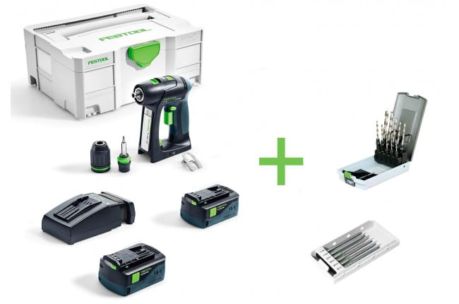 Дрель-шуруповерт аккумуляторная FESTOOL C 18 Li 5,2-Plus + сверла спиральные HSS D3-10 CE/10 и набор бит CENTROTEC BITS CE SET TL 6X в подарок!