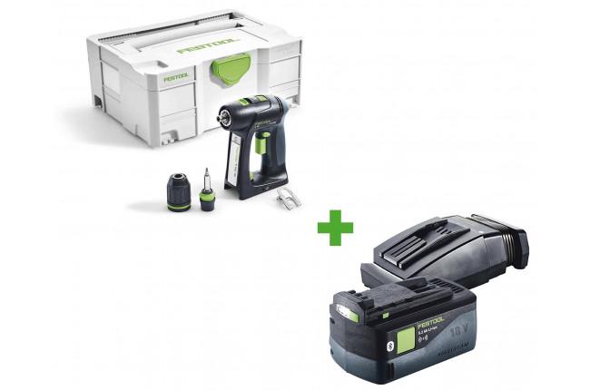 Дрель-шуруповерт аккумуляторная FESTOOL C 18 Li-Basic + аккумулятор BP 18 Li 5,2 ASI + зарядное устройство TCL 6 в подарок!