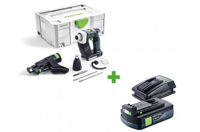Шуруповерт аккумуляторный для гипсокартона FESTOOL DWC 18-4500 Li-Basic + аккумулятор BP 18 Li 3,1 C и зарядное устройство TCL 3 в подарок!