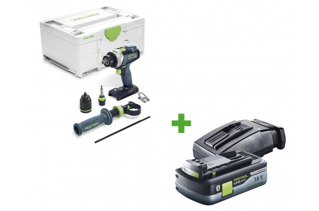 Дрель-шуруповерт ударная аккумуляторная FESTOOL QUADRIVE TPC 18/4 I-Basic + аккумулятор BP 18 Li 4,0 HPC-ASI и зарядное устройство TCL 6 в подарок!
