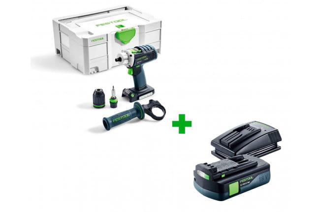 Дрель-шуруповерт аккумуляторная FESTOOL DRC 18/4 Li-Basic + аккумулятор BP 18 Li 3,1 C и зарядное устройство TCL 3 в подарок!