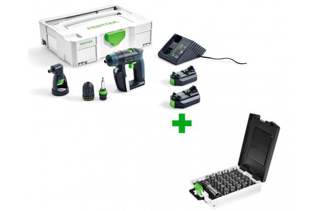 Дрель-шуруповерт аккумуляторная FESTOOL CXS Li 2,6-Set + набор бит TX 10-50/BH-SORT/31x в подарок!