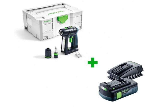Дрель-шуруповерт аккумуляторная FESTOOL C 18 Li-Basic + аккумулятор BP 18 Li 3,1 C и зарядное устройство TCL 3 в подарок!
