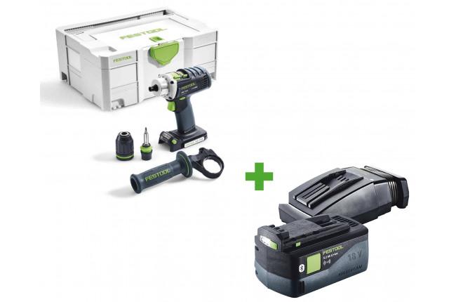 Дрель-шуруповерт аккумуляторная FESTOOL DRC 18/4 Li-Basic + аккумулятор BP 18 Li 5,2 ASI и зарядное устройство TCL 6 в подарок!