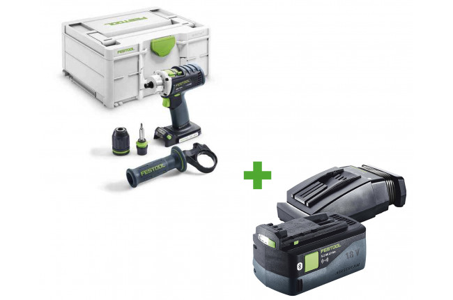 Дрель-шуруповерт аккумуляторная FESTOOL DRC 18/4-Basic + аккумулятор BP 18 Li 5,2 ASI и зарядное устройство TCL 6 в подарок!
